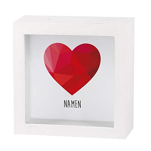 Herz & Heim® Herzliches Geldgeschenk zur Hochzeit als Bedruckte Bilderrahmen Spardose - individuell für Sie erstellt mit Namen des Paares