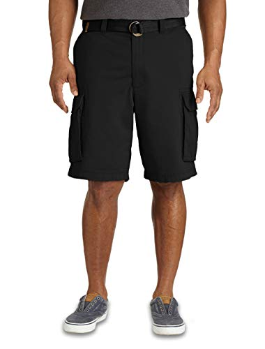 True Nation by DXL Big and Tall Broken-in Twill Cargo Shorts, Black, 56