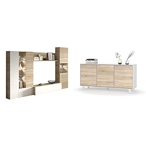 Habitdesign Mueble de Comedor con Leds, Mueble Salon, Modelo Essential + Aparador, Buffet, Salón Comedor 3 Puertas