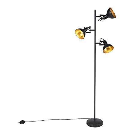 Qazqa Lampadaire | Lampe sur pied Industriel - Tommy Fl Lampe Noir Doré - E14 - Convient pour LED - 3 x 28 Watt