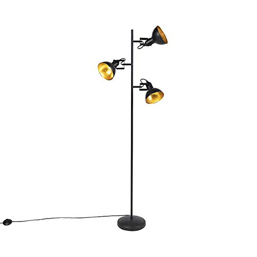 QAZQA Industriel Lampadaire/Lampe de sol/Lampe sur Pied/Luminaire/Lumiere/Éclairage industriel noir intérieur doré 3 lumières - Tommy Acier Noir,Doré Oblongue/Rond E14 Max. 3 x 28 Watt/S