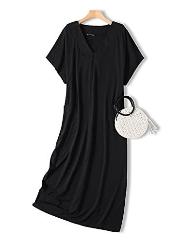 VONDA Vestido Mujer Elegante Casual Falda Larga Vestido Cuello en V Manga Corta Vestido Playa Verano Mujer 1A-Negra 2XL