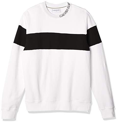 Calvin Klein Collar Logo Block Stripe Cn Suéter, Bright White, XXL para Hombre