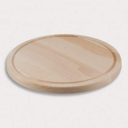 2X HOFMEISTER® Schneidebrett mit Saftrille aus Holz, 30 cm, schont hochwertige Klingen, verrutscht, antibakterielle Eigenschaft, runder Holzteller