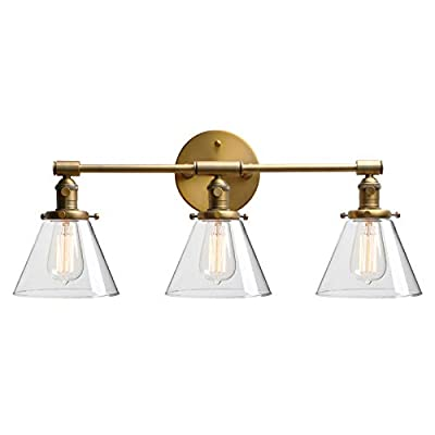 """Phansthy 3 Lights Wall Sconce Industrial Wall Lamp Light with Three 7.3"""" Diameter Cone Clear Glass Lamp Shade"""