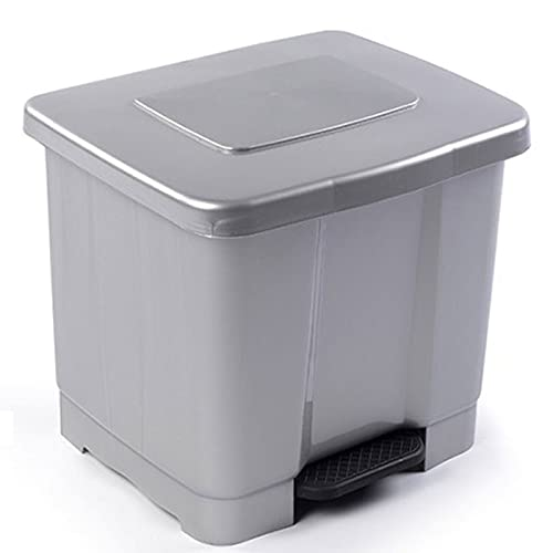 Cubo de Basura Reciclaje Pedal 35litro de plástico 43 x 38 x 38cm ,Contenedor basura 2 Divisiones Interiores multicolores (Plata 35 litro)
