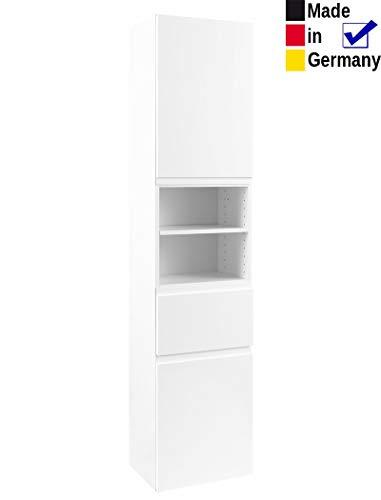 expendio Hochschrank Newport 5 Hochglanz weiß 40x180x35 cm Seitenschrank Badschrank Schrank Badmöbel Badezimmer