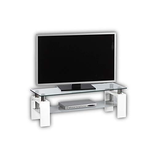 Stella Trading MANGO II TV-Lowboard Glas in Hochglanz weiß - TV-Board ohne Rückwand für Ihr Wohnzimmer - 120 x 42 x 40 cm (B/H/T)