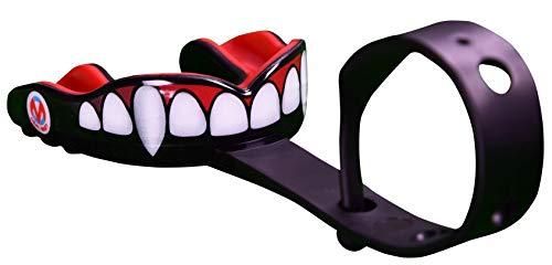 Oral Mart (Colmillos de Vampiro Protector bucal Deportivo con Correa (fútbol Americano/Hockey sobre Hielo/Lacrosse) para Adultos