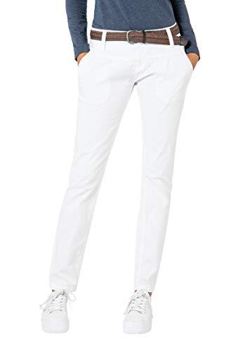 Urban Surface Damen Chino Stoff-Hose mit Flecht-Gürtel White S