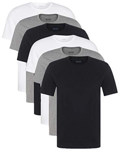 HUGO BOSS Herren T-Shirts Business Shirts Crew Neck 50325388 6er Pack, Farbe:Mehrfarbig;Größe:L;Artikel:-999 black/grey/white