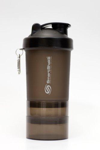 Body Attack Shaker SmartShake mit Tablettenfächer, Gun Smoke, Skalierung bis 400ml, 24609