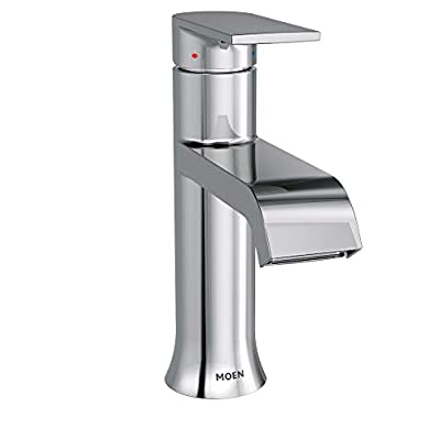 Moen 6702 Genta One-Handle Single Hole Modern Bathroom Sink Faucet with Optional Deckplate, Chrome