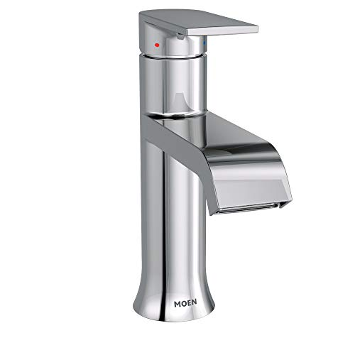 Moen 6702 Genta One-Handle Single Hole Modern Bathroom Sink Faucet with Optional Deckplate, 1 count, Chrome