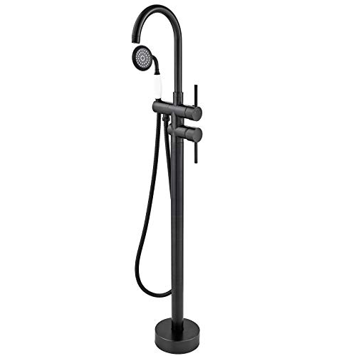 Aolemi Floor Mount Bathtub Faucet Black Freestanding Tub Filler Standing High Flow Shower Faucets with Handheld Shower Mixer Taps