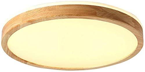 Led-plafondlamp van massief hout, kleur hout, rond, slaapkamer, woonkamer, modern, minimalistisch, voor slaapkamer van massief hout, plafond, hout, afstandsbediening, 30 cm / warm licht