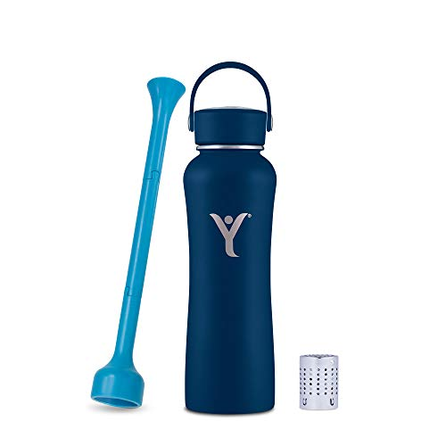 DYLN 21 oz Alkaline Water Bottle | Creates Premium Water up to 9+ pH | Keeps Cold for 24 Hours | Vacuum Insulated 316 Stainless Steel | Standard Mouth Cap | Galaxy Blue, 21 oz (620 mL)
