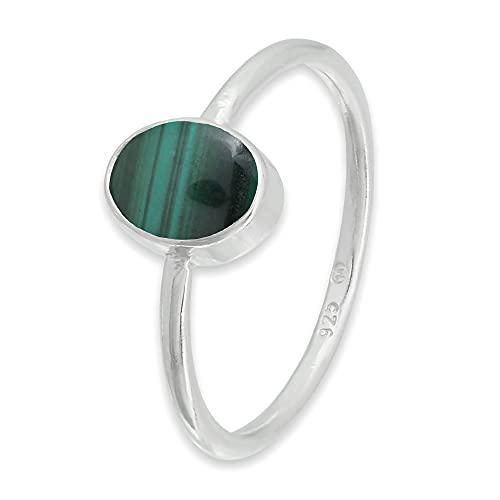 Ring Silber 925 Sterlingsilber Malachit grün Stein (Nr: MRI 100), Ringgröße:54 mm/Ø 17.2 mm