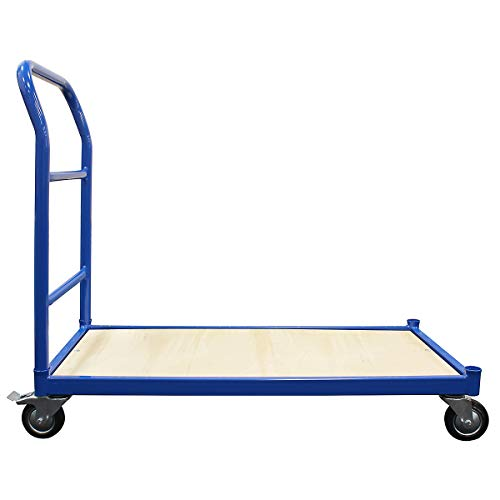 Certeo Plattformwagen | HxBxT 1000 x 1050 x 475 mm | Offene Ladefläche | Ein Schiebebügel | Tragkraft 250 kg | Transportwagen Lagerwagen Paketwagen