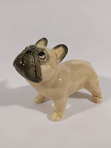 French bulldog fawn faience figurine, handmade, porcelain dog figurine