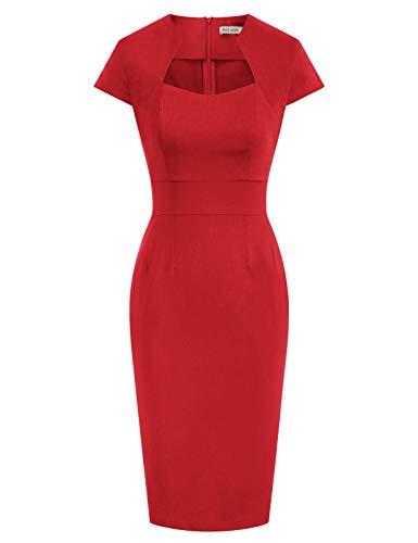 GRACE KARIN rote elegant 50s Retro Vintage Rockabilly Kleid festlich bleistiftkleid Kurzarm Bodycon Kleid CL8947-2 M
