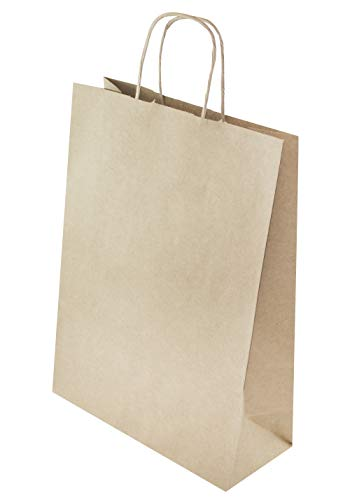 25 STK Öko - Papiertasche mit gedrehten Papiergriffen 240x100x320 braune Recycelbar Und Wiederverwendbar Mit Gedrehten Griffen Einkaufen Einzelhandel mittel 24x10x32 cm