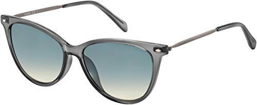 Fossil Ladies Mockingbird Cat Eye Sunglasses FOS3083 (Crystal Gray, Gray Brown)