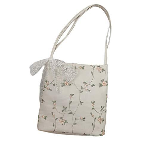 SZYZ Bolso de Flores de Encaje para Mujer, Textura clásica, Bolso de Ocio Elegante Creativo, Blanco