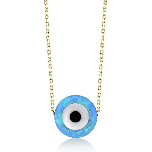 Gelin Damen Halskette aus 14 Karat - 585 Echt Gelbgold Tropfen Opal Anhänger Auge Amulett gegen den Bösen Blick Eyeanhänger Nazar Boncuk Kette 45 cm