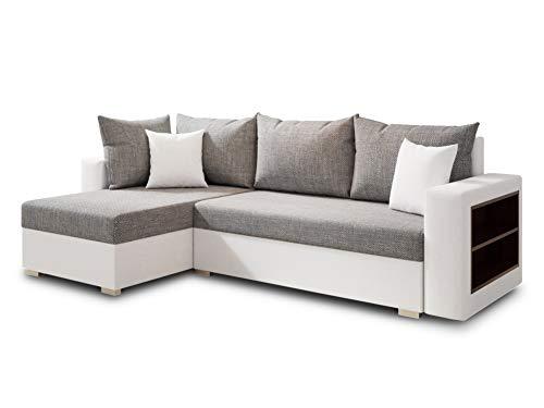 Ecksofa Lord mit Regal und Schlaffunktion - Sofa mit Bettkasten, Schlafsofa, Polsterecke, Couch...