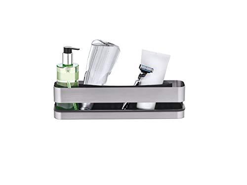 blomus -NEXIO- Duschkorb aus mattiertem Edelstahl, praktischer Kunststoffeinsatz für vereinfachte Reinigung, inkl Halterung, exklusives Badaccessoire (H / B / T: 8,5 x 34 x 8 cm, Edelstahl, 68942)