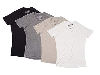 Mr Davis Bamboo Viscose Tailored V Neck Men s Undershirt Variety 4 Pack L