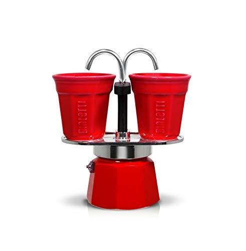 Bialetti Mini Express Set, cafetera de Aluminio 2 Tazas Color Rojo con 2 vasitos para...