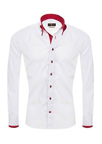 Giorgio Capone Herrenhemd, weiß mit roten Akzenten, Langarm, Button-Down-Kragen, Slim & Regular Fit (S Slim)