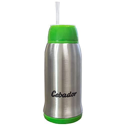 Cebador Yerbomos 3.0 Flasche, Thermoskanne & Bombilla | Yerba Mate Tee Kürbis 500 ml | Verbessertes Modell | Doppelwandiger Edelstahl | Ergonomische Konstruktion (Grün)