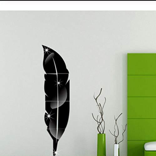 JHLP Acryl-muursticker, afneembaar, 3D, voor woonkamer, slaapkamer, spiegel, acryl-tattoos, muurkunst, knutselen, moderne thuisdecoratie, 73 x 18 cm, zwart