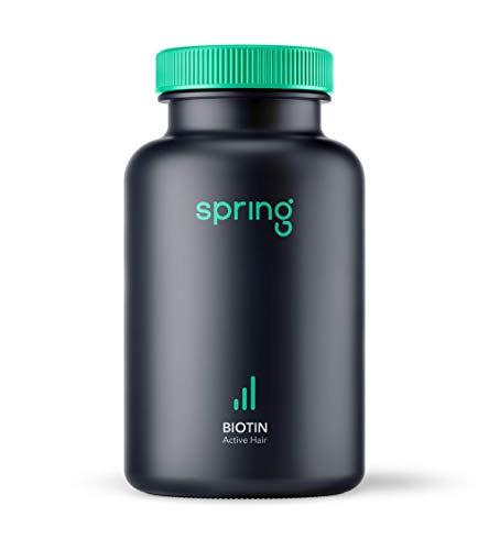 Spring Active Hair Biotin (60 Kapseln), bei erblich bedingtem Haarausfall für Männer, Haarausfall vorbeugen, Anti-Haarverlust Nahrungsergänzungsmittel (Halal)