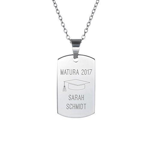 Gravado Halskette mit Erkennungsmarke aus Edelstahl und Gravur zur Matura, Personalisiert mit Namen und Jahr, Unisex Schmuck