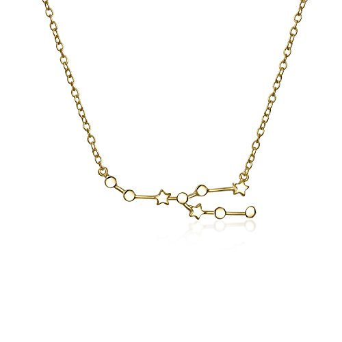 Astro Astrologie Sternzeichen Stier Sternbild Sterne Halskette Für Damen Jugendlich 14 Kt Vergoldet Sterling Silber