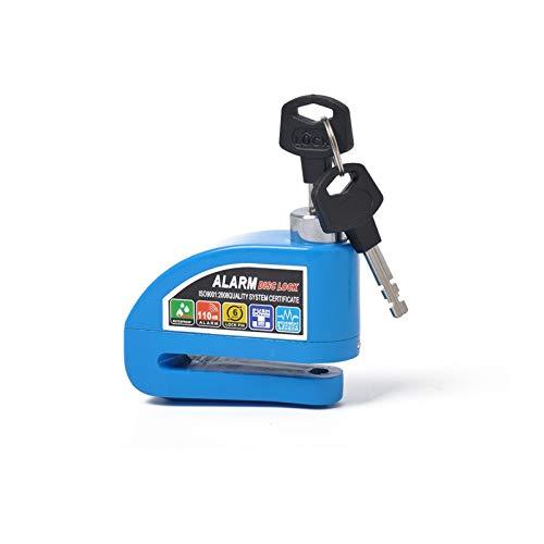 SZHSM Moto Scooter Anti-Robo Discero Motor Bloqueo Motor Bicicleta Alarma Disco Bloqueo Impermeable Protección de Alarma (Color : Blue)
