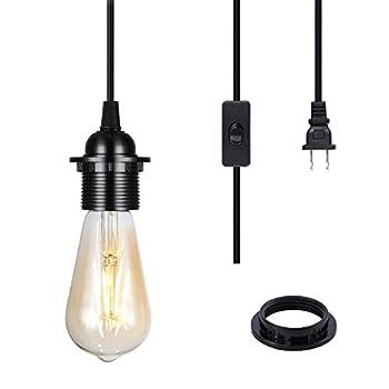 2 Pack Plug-in Pendant Light Cord 15FT Vintage Hanging Light Cord E26/E27 Light Socket Black Light Kit with On/Off Switch