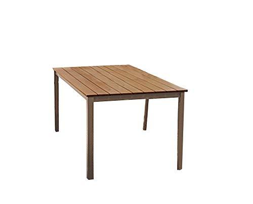 Alu Gartentisch Esstisch Tisch Wohntisch 150 x 90 cm B-Ware 2.Wahl (Braun)