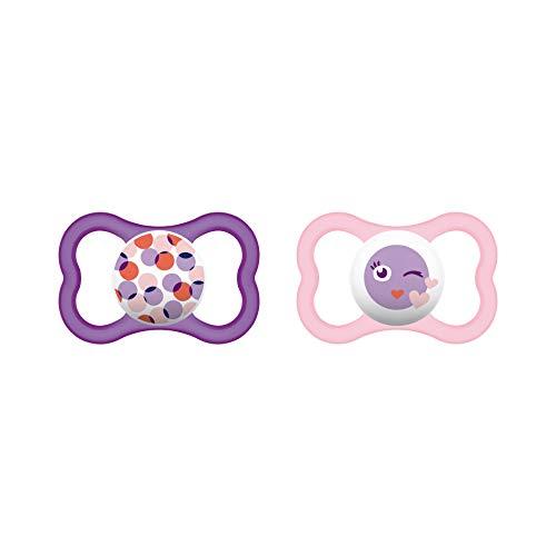 MAM Air Latex Schnuller im 2er-Set, extra leichtes und luftiges Schilddesign, zahnfreundlicher Baby Schnuller aus Naturkautschuk mit Schnullerbox, 16+ Monate, rosa