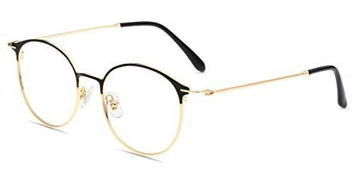 Firmoo Blaulichtfilter Brille Entspiegelt Damen, Herren Computer Brille ohne Sehstärke für Bildschirme, UV Blaufilter Schutzbrille Nerd, Schwarz-Gold