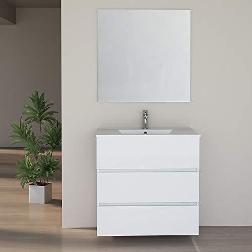 Baikal 280034151 Muebles de Baño con Tres Cajones, Modulo Lavabo Suspendido, Melamina 16mm, Blanco Mate, 80 X 76 X 46 cm
