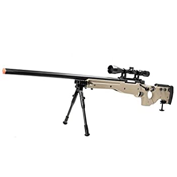 well mb08d l96 spring airsoft gun metal sniper fps-450 w/ 3-9x40 scope & bipod  tan  Airsoft Gun
