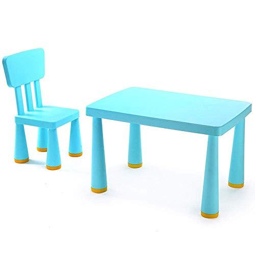 Tägliche Ausrüstung Kinder Schreibtisch- und Stuhlset Kinder Plastiktisch Stuhl Set Plastik Innen- oder Außenkinder Tischstuhl Studiertisch Schreibtisch Kinder (Farbe: Blau Größe: 77x54.5x48.5/66