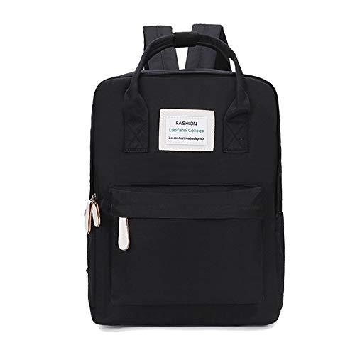 Neaer Mochila de lona impermeable para mujer, mochila de viaje, mochila escolar para adolescentes, mochila de hombro (color: mochila negra, tamaño: 36 x 28 x 12 cm)