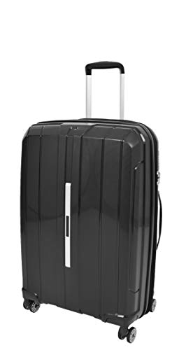 Hard Shell 4 Wheel Suitcases Black Expandable Luggage TSA Lock Zipped Travel Bag - Pluto (Medium | 66x44x27cm/ 3.00KG,65/15liters)