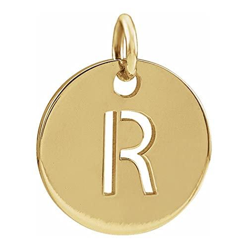 Collar con colgante de oro amarillo de 14 quilates, monograma personalizado, inicial R 10 mm, con colgante de disco inicial, regalo para mujer